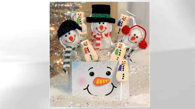 photo oriental tradings snowman gift box is shown here - Christmas Cookie Gift Ideas