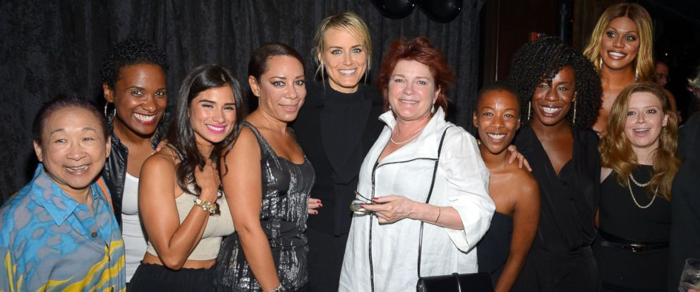 "PHOTO: Taylor Schilling celebrates her 30th birthday at CATCH Roof in New York City on July 26, 2014 with several ""Orange is the New Black"" cast members including Kate Mulgrew, Natasha Lyonne, and Laverne Cox."