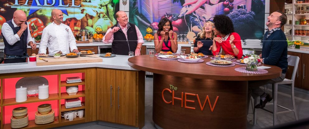 "PHOTO: First Lady Michelle Obama tapes four segments of ""The Chew"" at the Chew Studio in New York City, Sept. 23, 2014."