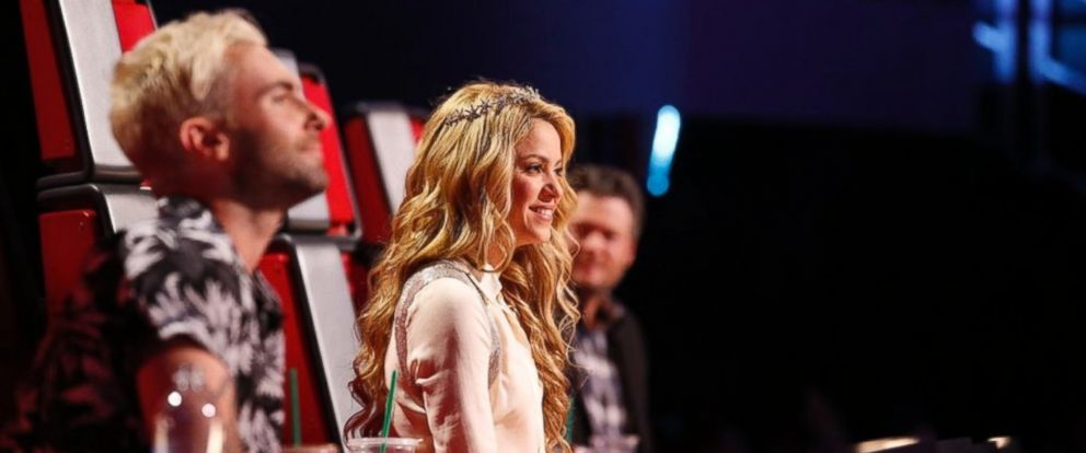 """PHOTO: From left, Adam Levine, Shakira and Blake Shelton are pictured on """"The Voice"""" on May 12, 2014."""
