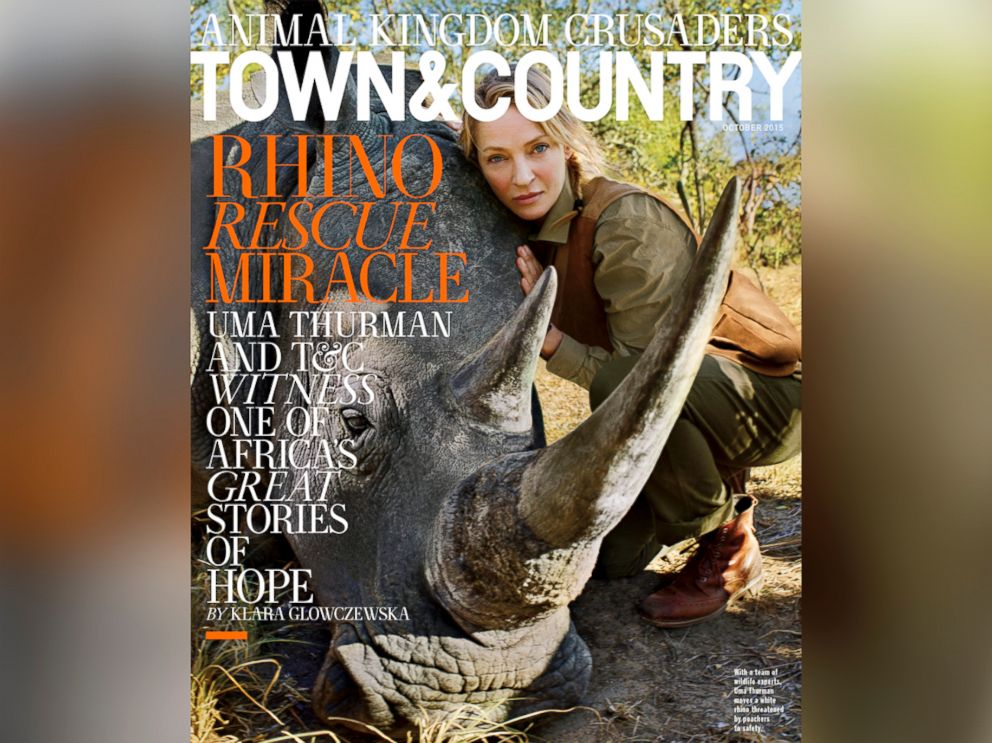 PHOTO: Uma Thurman is featured in the October edition of Town & Country.