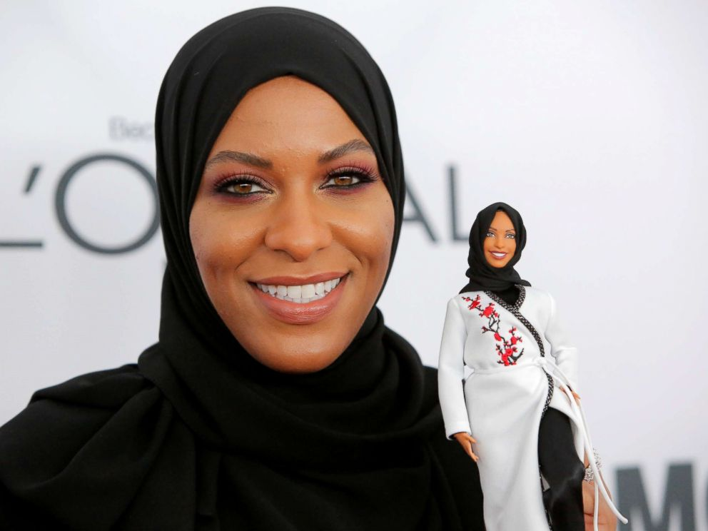 PHOTO: Olympic fencer Ibtihaj Muhammad holds a Barbie doll made in her likeness as she attends the 2017 Glamour Women of the Year Awards at the Kings Theater in Brooklyn, New York, Nov. 13, 2017.