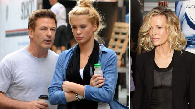 """PHOTO: Alec Baldwin with his daughter Ireland Baldwin, left, and Kim Basinger at the Los Angeles Premiere of """"The Informers"""", April 16, 2009 in Hollywood."""