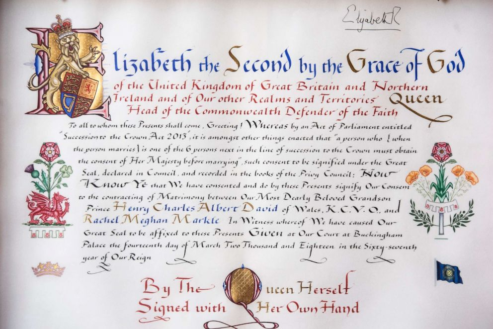 PHOTO: The Instrument of Consent, which is the Queens historic formal consent to Prince Harrys forthcoming marriage to Meghan Markle, is photographed at Buckingham Palace in London, May 11, 2018.