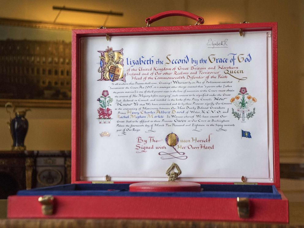 PHOTO: The Instrument of Consent, which is the Queens historic formal consent to Prince Harrys forthcoming marriage to Meghan Markle, is photographed at Buckingham Palace on May 11, 2018 in London.