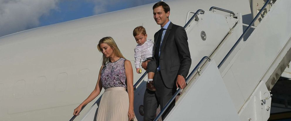 PHOTO: Ivanka Trump and husband Jared Kushner step off Air Force One with their children on Sept. 15, 2017 in Morristown, N.J.