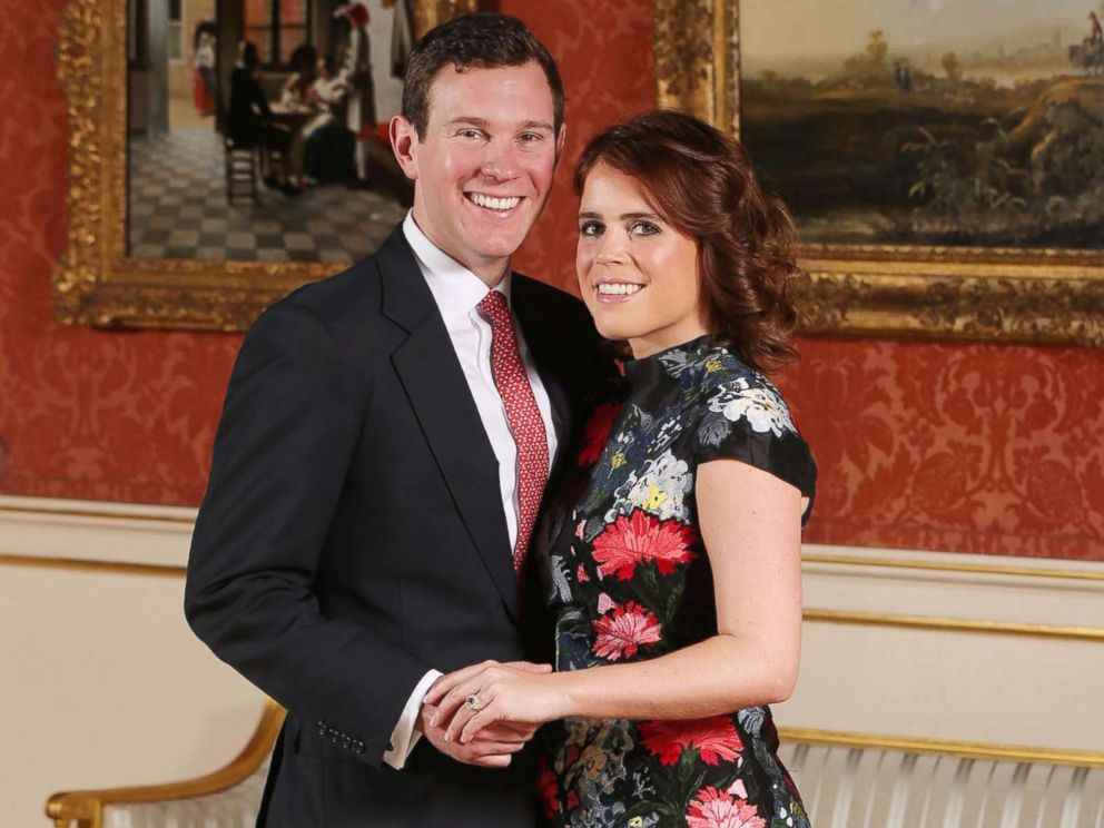 PHOTO: Princess Eugenie and Jack Brooksbank in the Picture Gallery at Buckingham Palace in London after they announced their engagement, Jan. 22, 2018.