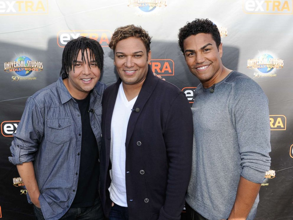 PHOTO: (L-R) Taj Jackson, Taryll Jackson and TJ Jackson visit Extra at Universal Studios Hollywood, Oct. 8, 2015, in Universal City, Calif.