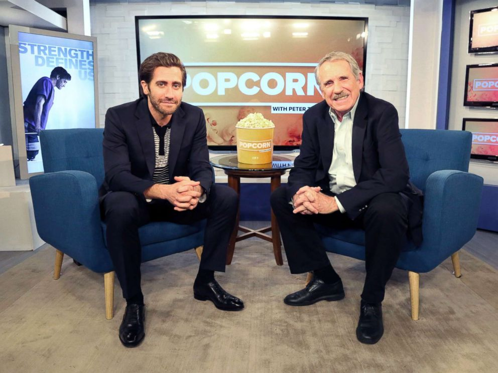 PHOTO: Peter Travers and Jake Gyllenhaal at the ABC News studios in New York City, Sept. 15, 2017.