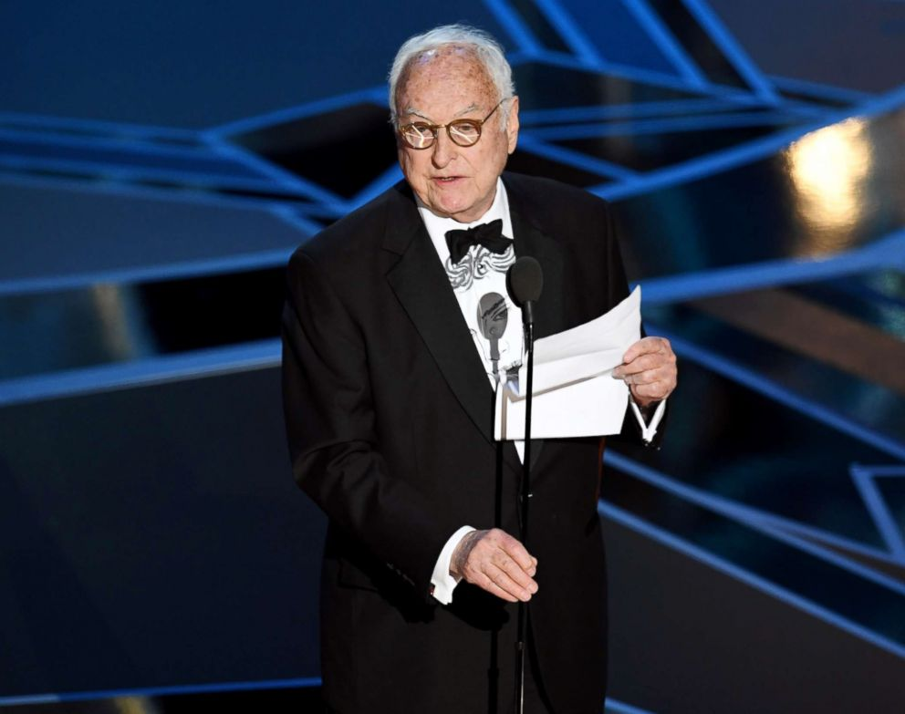 PHOTO: James Ivory accepts best adapted screenplay award for Call Me by Your Name during the Academy Awards on March 4, 2018, in Hollywood, Calif.