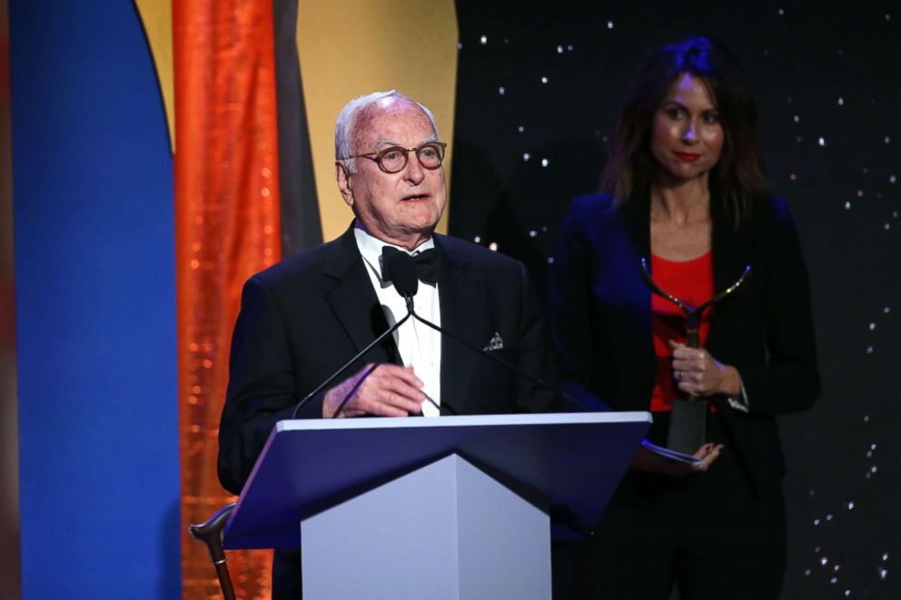 PHOTO: James Ivory receives his award at the 70th Annual Writers Guild Awards Show, Feb. 11, 2018 in Los Angeles.