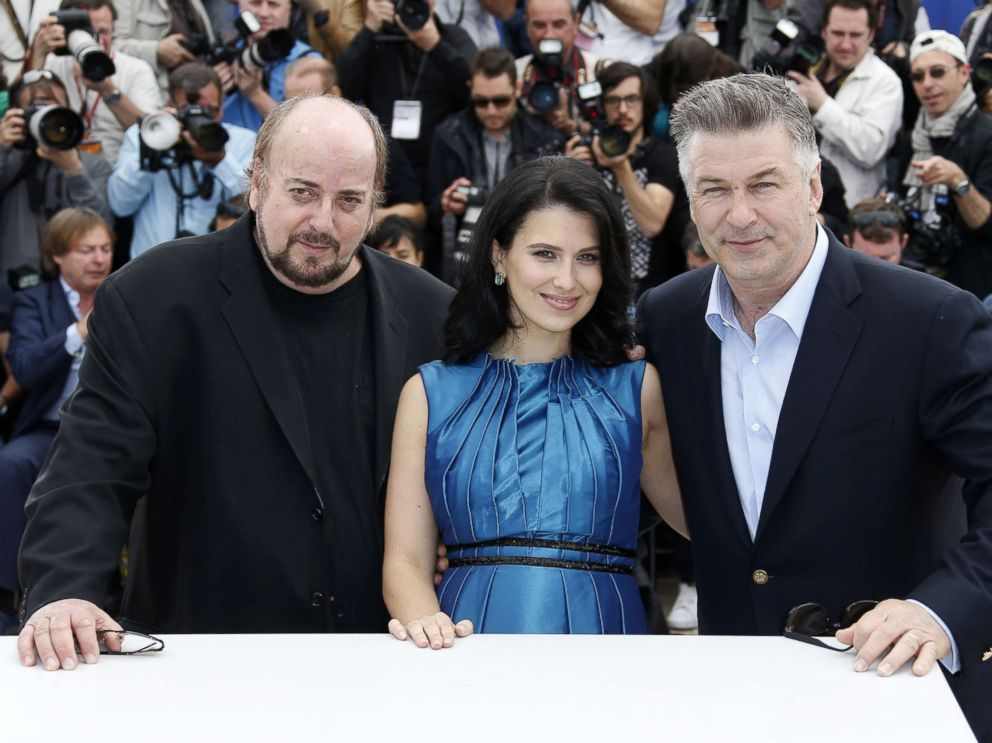 PHOTO: Alec Baldwin (R) poses with his wife Hilaria Thomas (C) and director James Toback during a photocall for the film Seduced and Abandoned at the 66th edition of the Cannes Film Festival in Cannes, May 21, 2013.