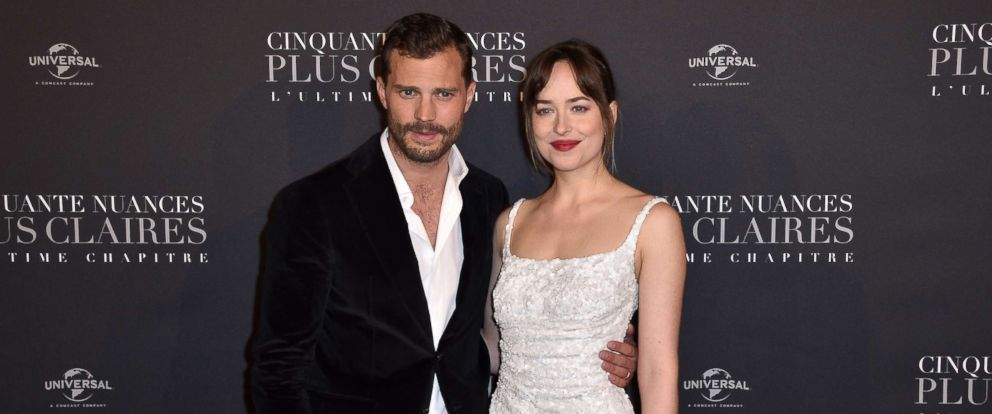 "PHOTO: Jamie Dornan and Dakota Johnson attend the ""Fifty Shades Freed - 50 Nuances Plus Clair"" Paris Premiere at Salle Pleyel, Feb. 6, 2018, in Paris."