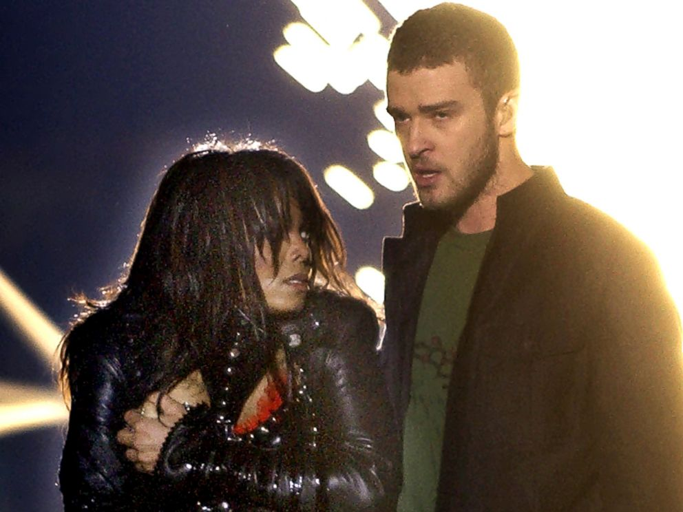 PHOTO: Singer Janet Jackson covers her breast after her outfit came undone during a number with Justin Timberlake during the halftime show of Super Bowl XXXVIII in Houston in this Feb. 1, 2004 file photo.