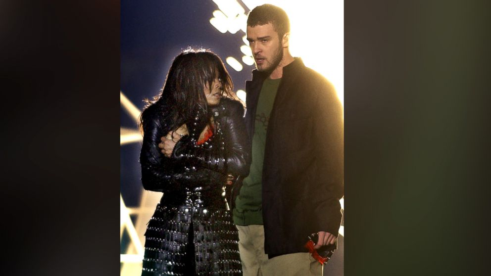 Singer Janet Jackson covers her breast after her outfit came undone during a number with Justin Timberlake during the halftime show of Super Bowl XXXVIII in Houston in this Feb. 1, 2004 file photo.