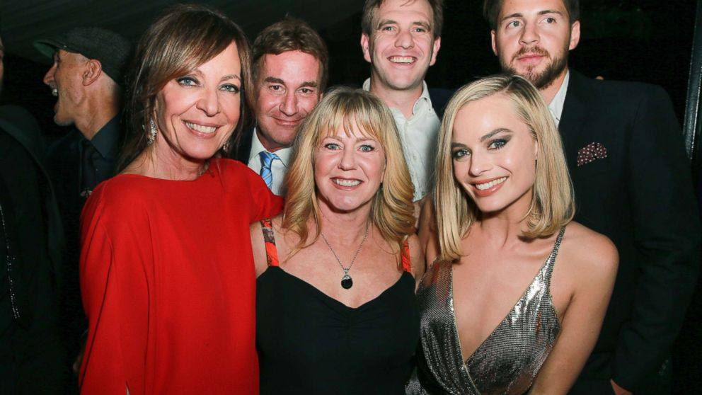 """Allison Janney, Steven Rogers, Tonya Harding, Bryan Unkeless, Margot Robbie and Ricky Russert attend the after party for the premiere of Neon and 30 West's """"I, Tonya,"""" Dec. 5, 2017, in Hollywood, Calif."""