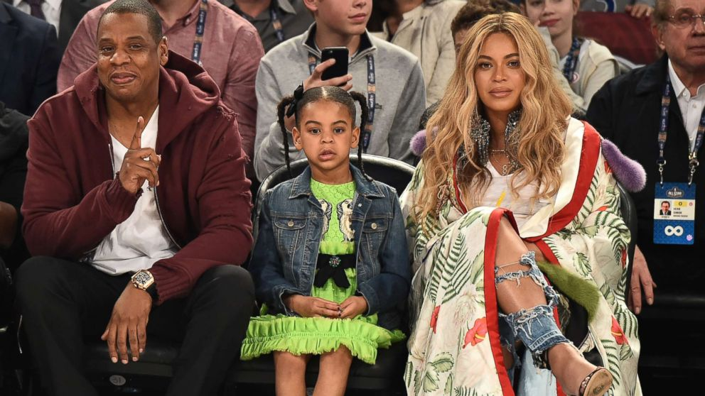 Jay Z, Blue Ivy Carter and Beyonce Knowles attend the 66th NBA All-Star Game at Smoothie King Center, Feb. 19, 2017, in New Orleans.