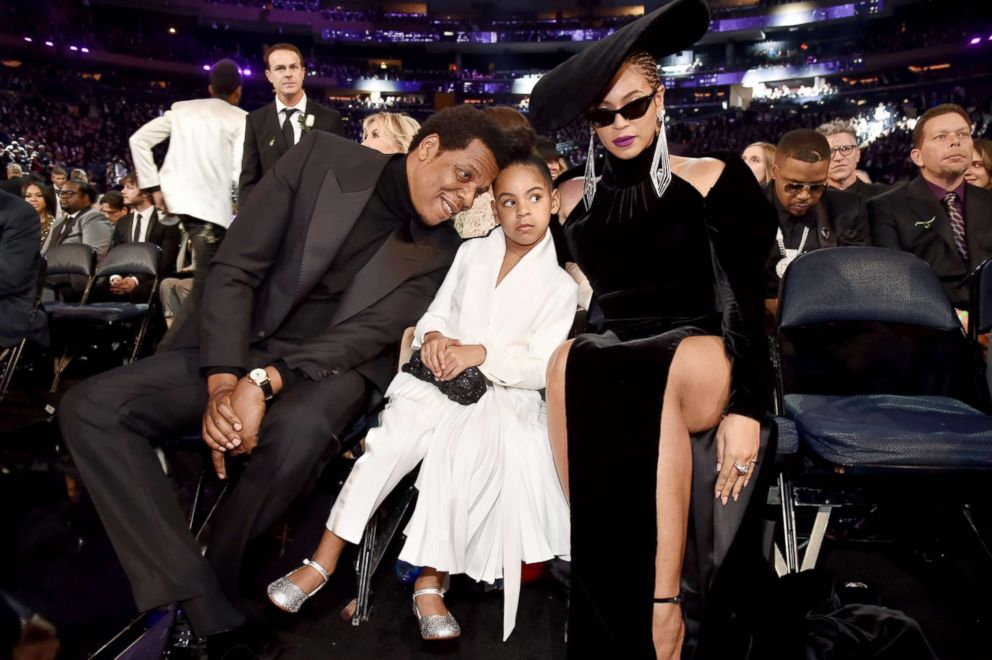 PHOTO: Jay Z, daughter Blue Ivy Carter and wife Beyonce attend the 60th Annual Grammy Awards at Madison Square Garden, Jan. 28, 2018, in New York City.