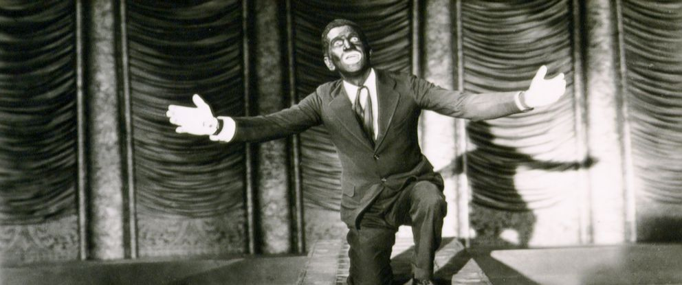 "PHOTO: Singer and actor Al Jolson on the set of ""The Jazz Singer."""