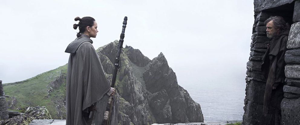 PHOTO: Daisy Ridley and Mark Hamill in Star Wars: The Last Jedi, 2017.