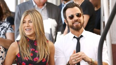 'PHOTO: Jennifer Aniston and Justin Theroux attend the ceremony honoring Jason Bateman with a Star on The Hollywood Walk of Fame held, July 26, 2017, in Hollywood, Calif.' from the web at 'https://s.abcnews.com/images/Entertainment/jennifer-aniston-justin-theroux-gty-ml-170914_16x9t_384.jpg'