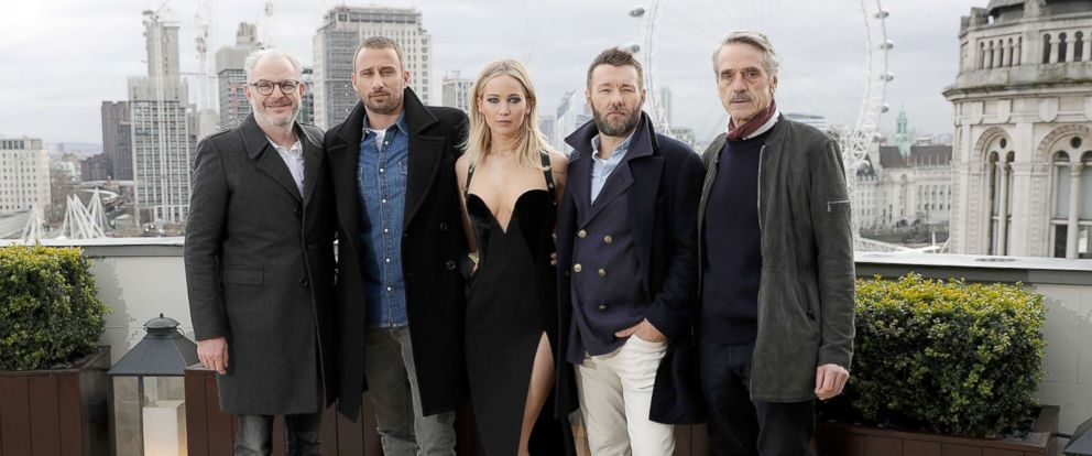 "PHOTO: Francis Lawrence, Matthias Schoenaerts, Jennifer Lawrence, Joel Edgerton and Jeremy Irons during the ""Red Sparrow"" photocall at The Corinthia Hotel on Feb.20, 2018 in London."
