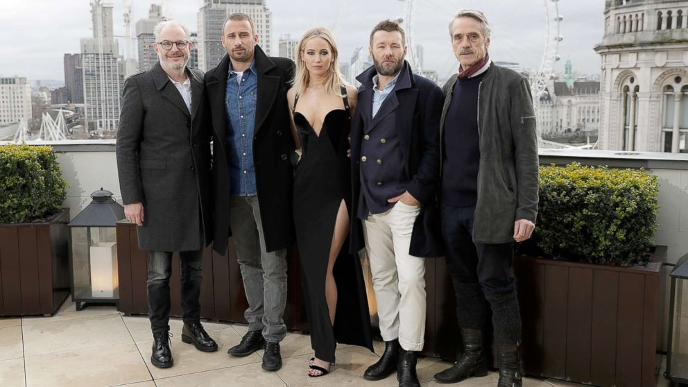 """Francis Lawrence, Matthias Schoenaerts, Jennifer Lawrence, Joel Edgerton and Jeremy Irons during the """"Red Sparrow"""" photocall at The Corinthia Hotel on Feb.20, 2018 in London."""