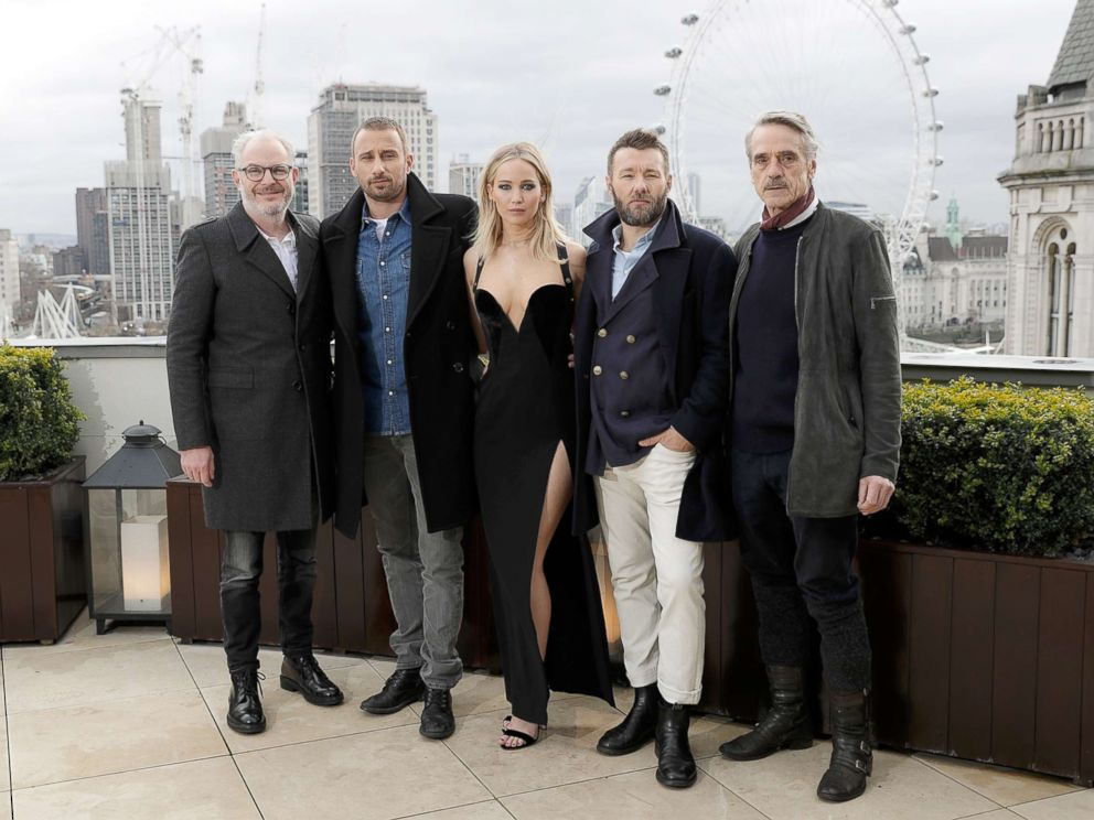 PHOTO: Francis Lawrence, Matthias Schoenaerts, Jennifer Lawrence, Joel Edgerton and Jeremy Irons during the Red Sparrow photocall at The Corinthia Hotel on Feb.20, 2018 in London.