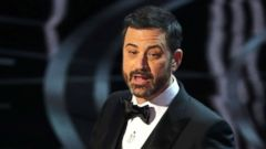 PHOTO: Jimmy Kimmel speaks at the 89th Academy Awards Oscars Awards Show, Feb. 27, 2017 in Hollywood, Calif.