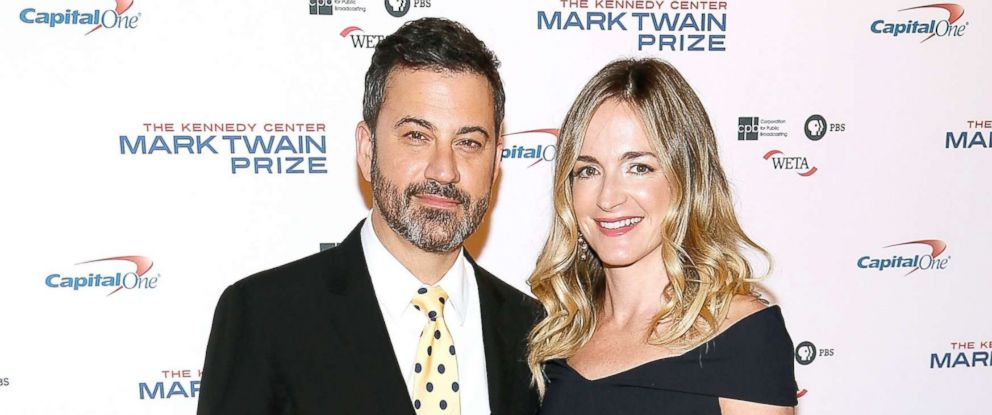PHOTO: Jimmy Kimmel and his wife Molly McNearney arrive to the 2017 Mark Twain Prize for American Humor at The Kennedy Center, Oct. 22, 2017, in Washington, DC.