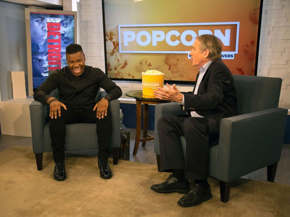 PHOTO: John Boyega and Peter Travers speak on set at the ABC News studios in New York, Aug. 1, 2017.