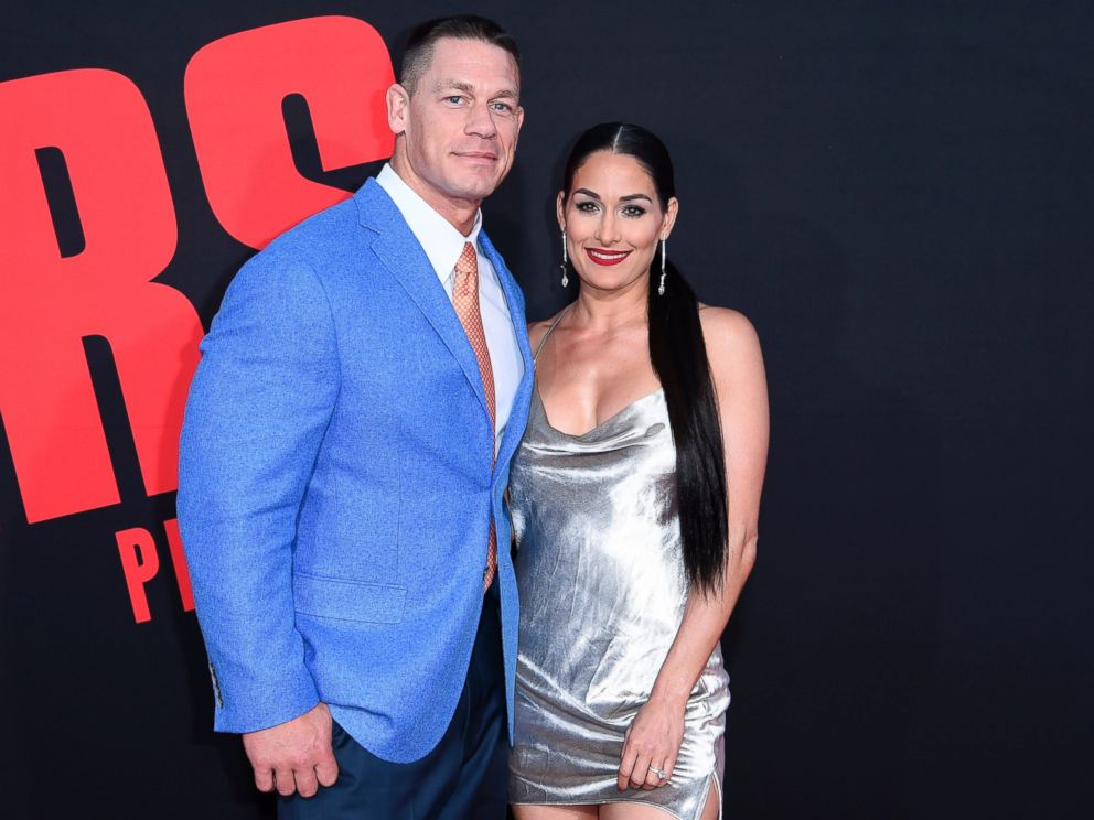 In this Tuesday, April 3, 2018, photo, John Cena, left, and Nikki Bella attend the LA Premiere of Blockers at the Regency Village Theatre in Los Angeles.