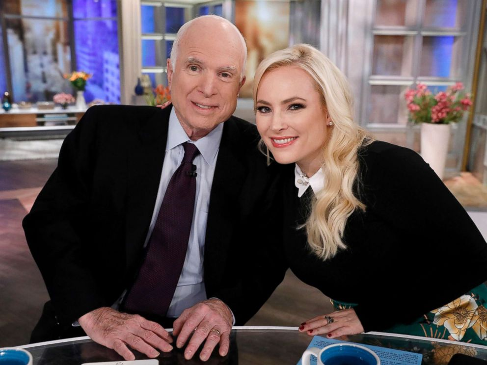 PHOTO: Senator John McCain poses for a photo with his daughter Meghan on ABCs The View, Oct 23, 2017.