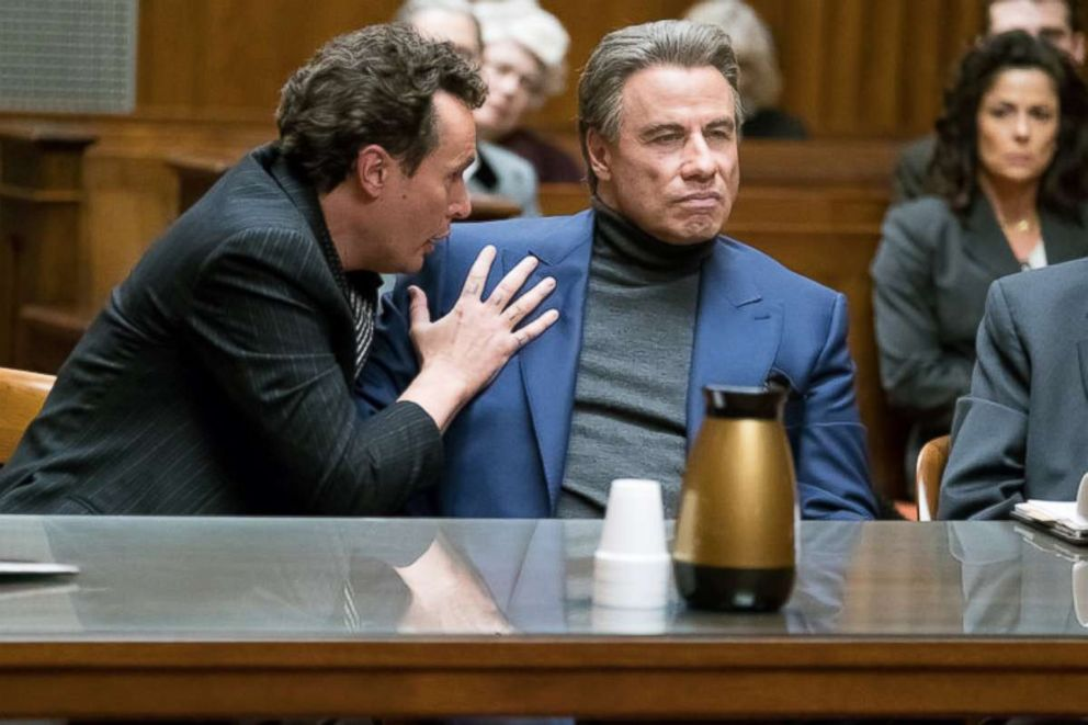PHOTO: John Travolta, right, as John Gotti Sr., in a scene from Gotti.