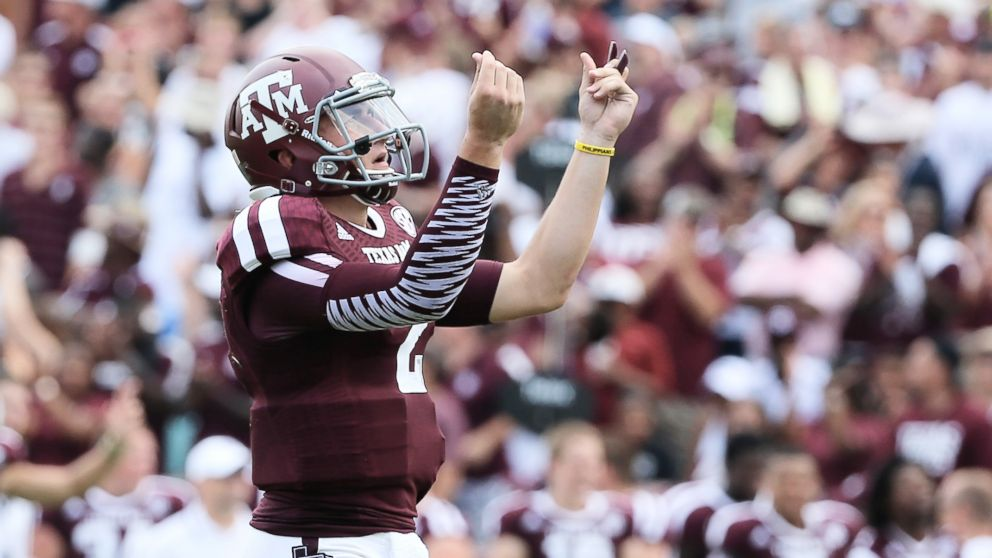Johnny Manziel #2 of the Texas A&M Aggies celebrates a third quarter touchdown during the game against the Rice Owls at Kyle Field in this Aug. 31, 2013 file photo in College Station, Texas.