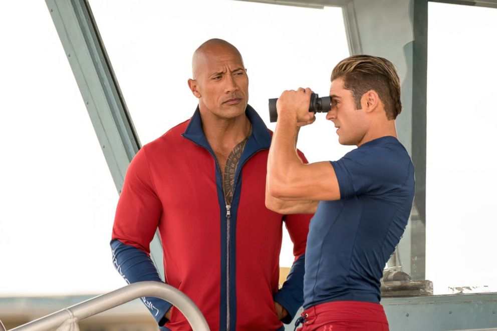 PHOTO: Dwayne The Rock Johnson and Zac Efron, right, in a scene from Baywatch.