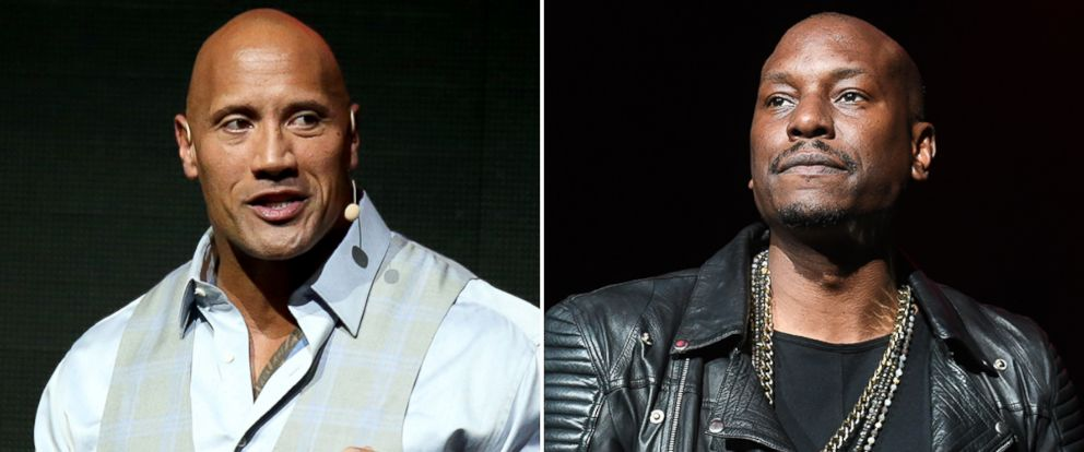 PHOTO: Dwayne Johnson, left, speaks during CinemaCon at The Colosseum at Caesars Palace, March 28, 2017, in Las Vegas. Tyrese Gibson performs onstage in concert during the R&B Super Jam at Philips Arena, Oct. 28, 2017, in Atlanta.