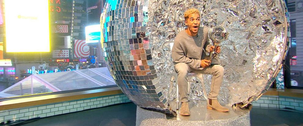 """PHOTO: """"Dancing With the Stars"""" season 25 winner Jordan Fisher cant wait to use his Mirror Ball Trophy as the Thanksgiving table centerpiece."""