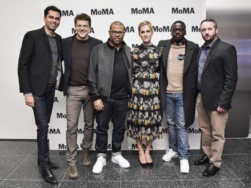 PHOTO: Moderator Rajendra Roy, Producer Jason Blum, director Jordan Peele, actress Allison Williams, actor Daniel Kaluuya, and producer Sean McKittrick attend the MoMAs Contenders Screening of Get Out at MOMA, Nov. 15, 2017, in New York City.