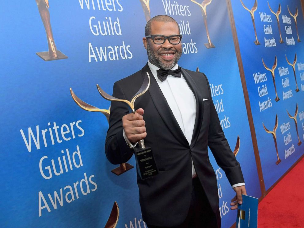 PHOTO: Writer/actor/director Jordan Peele poses with Original Screenplay award for Get Out during the 2018 Writers Guild Awards L.A. Ceremony at The Beverly Hilton Hotel, Feb. 11, 2018 in Beverly Hills, Calif.