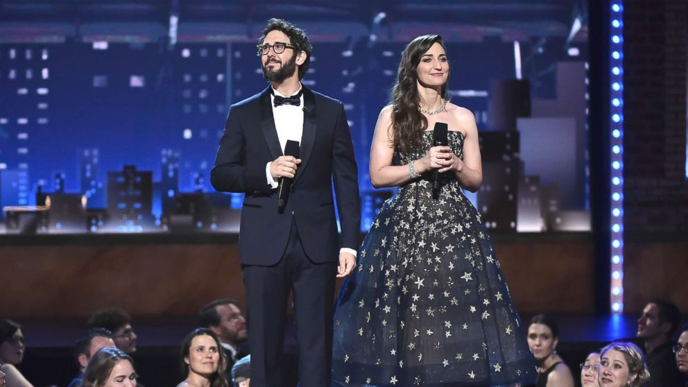 Josh Groban and Sara Bareilles speak onstage during the 72nd Annual Tony Awards at Radio City Music Hall, June 10, 2018, in New York City.