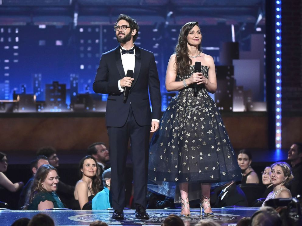 PHOTO: Josh Groban and Sara Bareilles speak onstage during the 72nd Annual Tony Awards at Radio City Music Hall, June 10, 2018, in New York City.