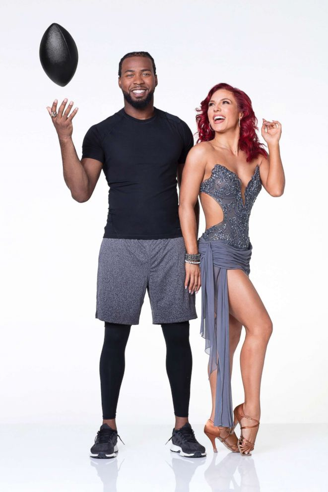 PHOTO: NFL player Josh Norman, of the Washington Redskins, is dancing with pro Sharna Burgess.