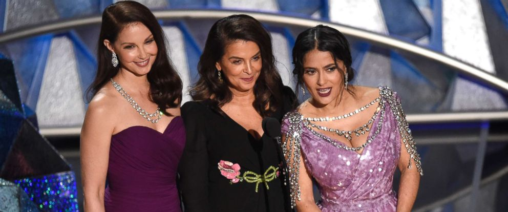 PHOTO: Ashley Judd, from left, Annabella Sciorra and Salma Hayek speak at the Oscars, March 4, 2018, at the Dolby Theatre in Los Angeles.