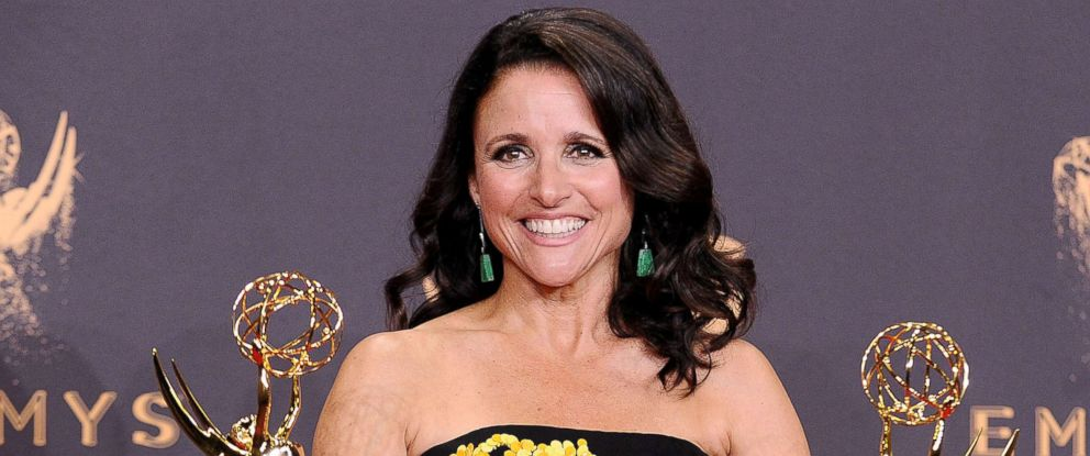 PHOTO: Julia Louis-Dreyfus poses in the press room at the 69th annual Primetime Emmy Awards, Sept. 17, 2017, in Los Angeles.