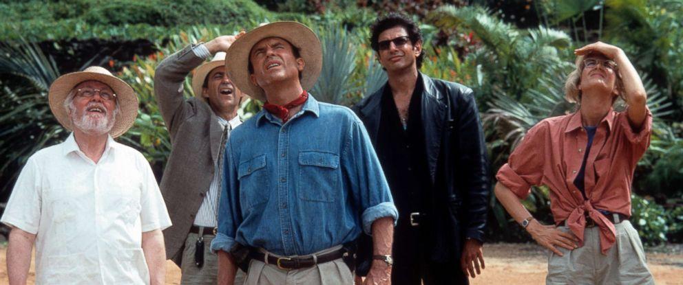 "PHOTO: From left, Richard Attenborough, Martin Ferrero, Sam Neill, Jeff Goldblum and Laura Dern in a scene from the film ""Jurassic Park"", 1993."