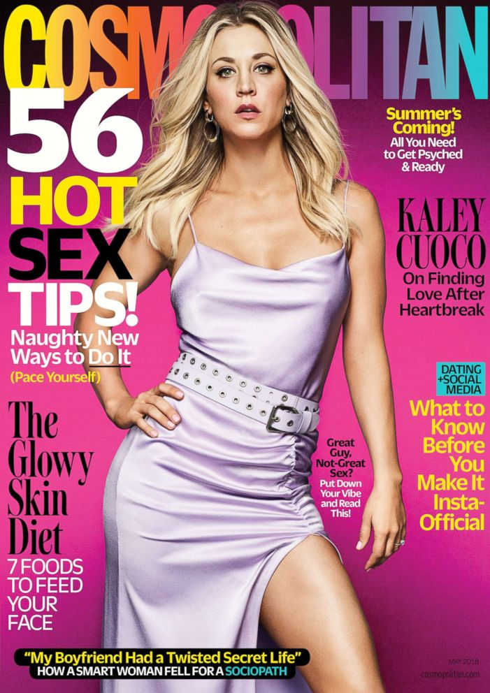 PHOTO: Kaley Cuoco appears on Cosmopolitans May 2018 cover.