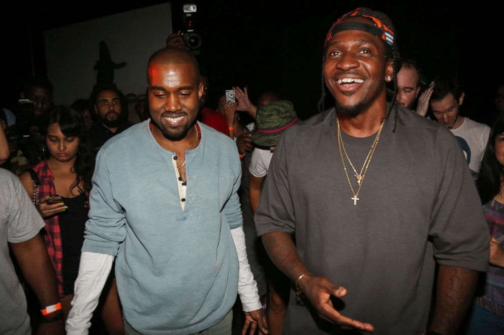 PHOTO: Kanye West and Pusha T attend the MNIMN listening event at Industria Superstudio in New York City, Sept. 11, 2013.