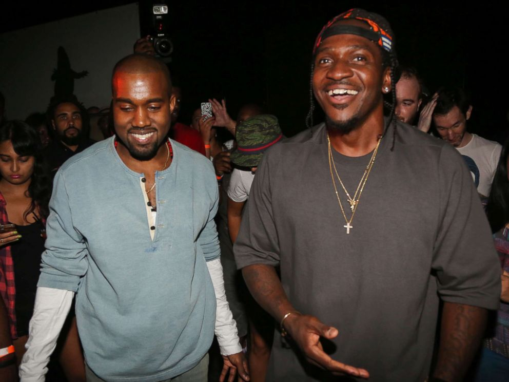 PHOTO: Kanye West and Pusha T attend the MNIMN listening event at Industria Superstudio on Sept. 11, 2013 in New York.