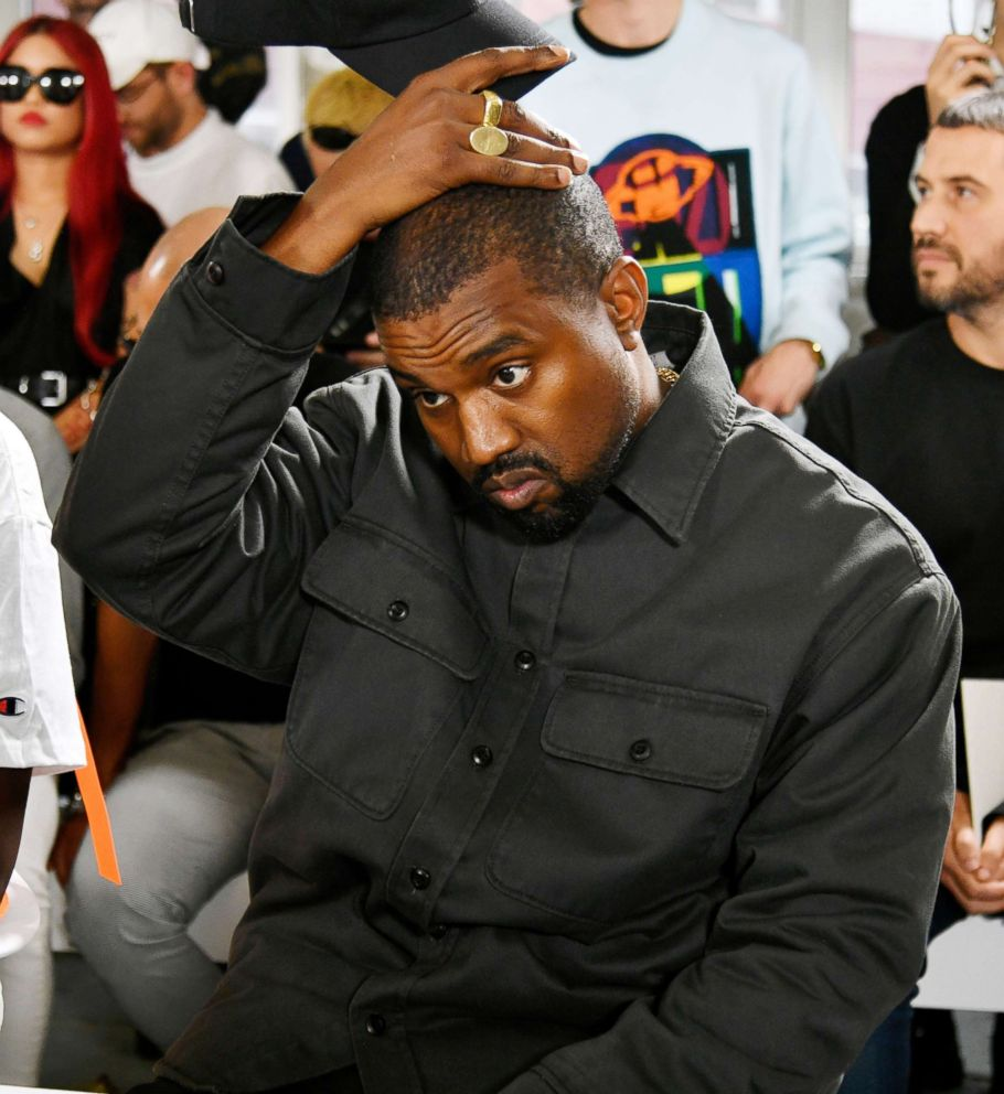 PHOTO: Kanye West in the front row of a show at Mens Fashion Week in Paris, June 24, 2018.